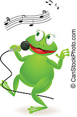 Vector illustration of singing frog cartoon