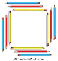 Sixteen color pencils. Vector