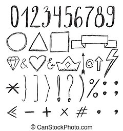 Sketch design elements. Numbers. Set of hand drawn graphic signs