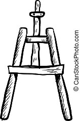 Sketch of a easel, illustration, vector on white background.