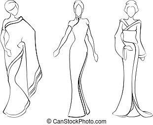 A vector sketch of three models in traditional asian dresses. Graphics are grouped and in several layers for easy editing. The file can be scaled to any size.