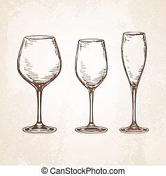 Sketch set of empty wineglasses.