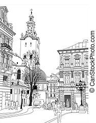 sketch vector illustration of Lviv historical building, Ukraine. Digital drawing freehand.