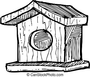 sketchy bird house
