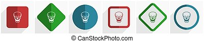 Skull icon set, flat design vector illustration in 6 options for webdesign and mobile applications in eps 10