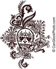 Skull Paisley Rock Tattoo
