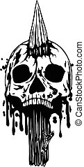 Abstract vector illustration skull punched stake
