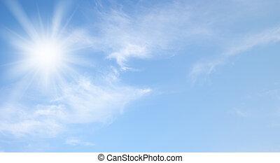 Sky and shining sun banner