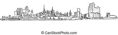 Skylinie Hamburg Port Panorama, hand-drawn Panorama Vector Outline Sketch