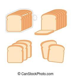 Sliced white bread illustration set