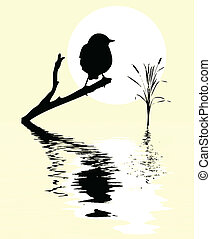 small bird on branch tree amongst water