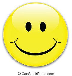 Happy yellow smile button, vector.
