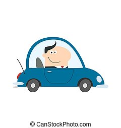 Smiling Manager Driving Car To Work In Modern Flat Design