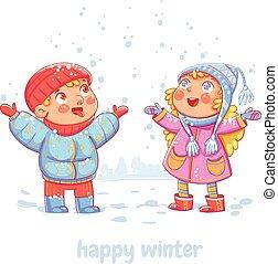 Snowfall. Wintertime