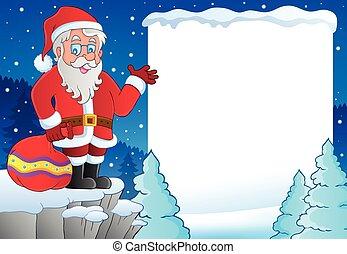 Snowy frame with Santa Claus theme 1