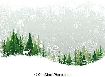 Green and white winter forest grunge background design