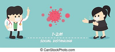 Social Distancing, People keeping distance for infection risk and disease stop Covid-19