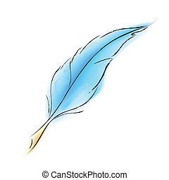 illustration of soft bird feather on white background
