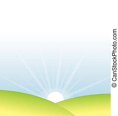 soft sunrise over meadows vector