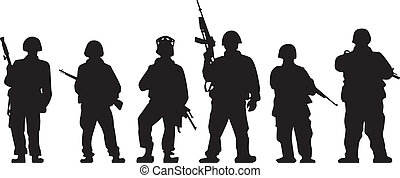 Soldiers silhouette with guns in vector