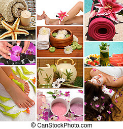 Spa treatment with aromatherapy, pedicure, manicure, massage, herbal tea, healthy fruit, meditation, and skincare