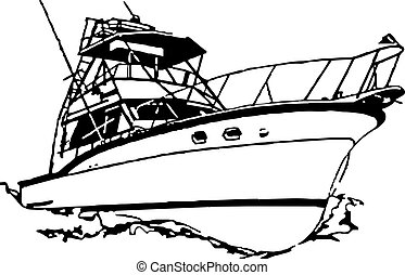 Name brand older sport fishing boat rigged for catching major fish offshore