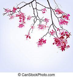 Spring Blooming Sakura branch of blots background