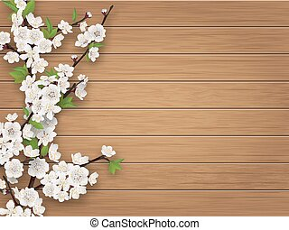 Spring cherry branch on brown old wood background