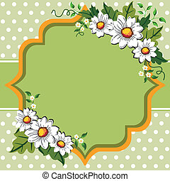 White daisy flower frame with space for your text, logo or design on green - orange romantic dot background