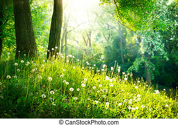 Spring Nature. Beautiful Landscape. Green Grass and Trees