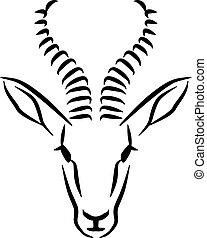Springbok head caligraphy style