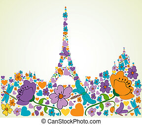 Spring flower and butterfly icons texture in Paris skyline silhouette shape composition background. Vector illustration layered for easy manipulation and custom coloring.