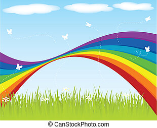 Spring backgraound with rainbow and butterflies.