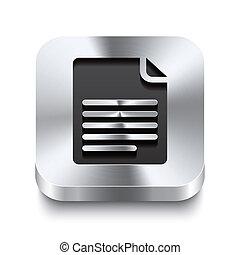 Square metal button perspektive - page curl icon