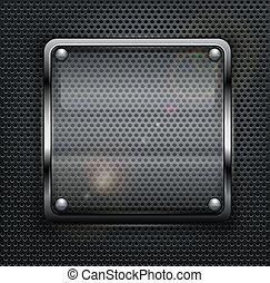 Square web button on dark metallic mesh background, vector illustration
