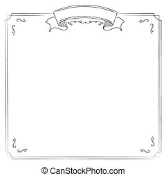 Square white background with classic border and ribbon