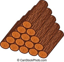 Stack of wooden logs vector illustration
