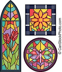 Stained Glass Floral Butterfly Designs