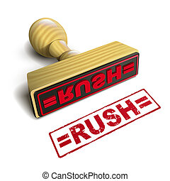 stamp rush with red text over white background