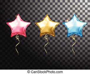 Star balloon colorful set on transparent background. Party balloons event design decoration. Balloons isolated air. Mockup for balloon print. Stocking Christmas decorations. Vector isolated object