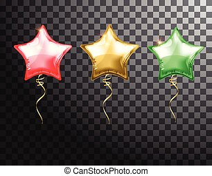 Star balloon colorful set on transparent background. Party helium balloons event design decoration. Balloons air. Mockup for balloon print. Stocking Christmas decorations. Vector isolated object