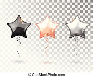 Star balloon on transparent background. Party helium balloons event design decoration. Balloons isolated air. Mockup for balloon print. Stocking Christmas decorations. Vector isolated object