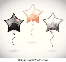 Star balloon set on transparent background. Party balloons event design decoration. Balloons isolated air. Mockup for balloon print. Stocking Christmas decorations. Vector isolated object