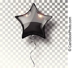 Star black balloon on transparent background. Party balloons event design decoration. Balloons isolated air. Mockup for balloon print. Stocking Christmas decorations. Vector isolated object