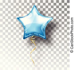 Star blue balloon on transparent background. Party helium balloons event design decoration. Balloons isolated air. Mockup for balloon print. Stocking Christmas decorations. Vector isolated object