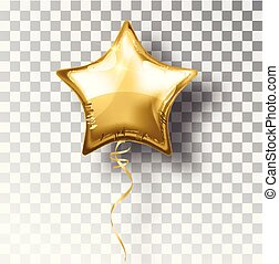 Star gold balloon on transparent background. Party helium balloons event design decoration. Balloons isolated air. Mockup for balloon print. Stocking Christmas decorations. Vector isolated object