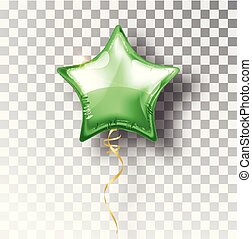 Star green balloon on transparent background. Party helium balloons event design decoration. Balloons isolated air. Mockup for balloon print. Stocking Christmas decorations. Vector isolated object