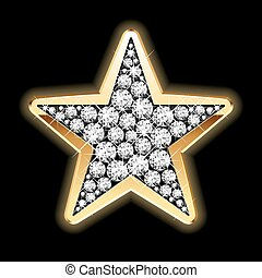Detailed vector illustration of a star in diamonds