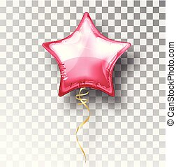 Star pink balloon on transparent background. Party helium balloons event design decoration. Balloons isolated air. Mockup for balloon print. Stocking Christmas decorations. Vector isolated object