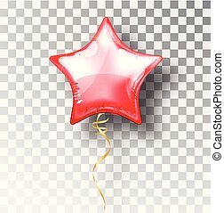 Star red balloon on transparent background. Party helium balloons event design decoration. Balloons isolated air. Mockup for balloon print. Stocking Christmas decorations. Vector isolated object